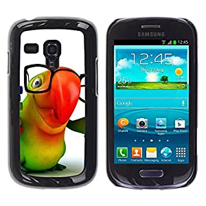 Paccase / SLIM PC / Aliminium Casa Carcasa Funda Case Cover para - Popular Parrot Glasses Colorful Animation Hipster 3D - Samsung Galaxy S3 MINI NOT REGULAR! I8190 I8190N