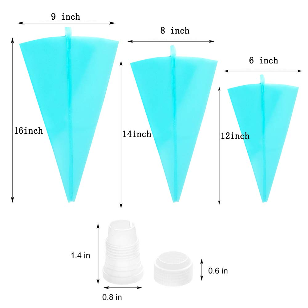 Silicone Pastry Bags, Weetiee 3 Sizes Reusable Icing Piping Bags Baking Cookie Cake Decorating Bags (12''+14''+16'')- 6 Pack - Bonus 6 Icing Couplers Fit Wilton Standard Size Tips Supplies by Weyey (Image #2)
