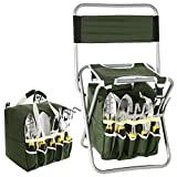 Cosway 10 Piece Gardening Tool Set Kit Includes Zippered Detachable Storage Tote Bag, Folding Stool Seat with Backrest and 5 Gardening Tools