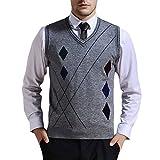 Zicac Men's V-Neck Rhombus Knitwear Sweater Vest Waistcoat (XL, Gray)