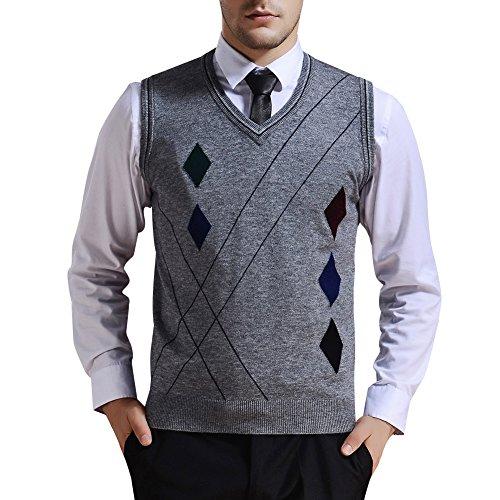 Zicac Men's V-Neck Rhombus Knitwear Sweater Vest Waistcoat (XL, Gray) by Zicac
