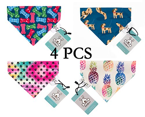 Bone Adjustable Dog Collar (CuteBone 4 PCS Dog Bandana Bibs Puppy Bib Triangle Head Scarf Accessories For Dogs Cats For Small to Large Breed GKSW02-M)