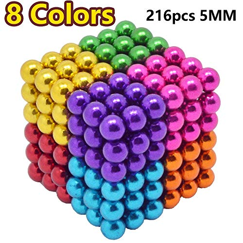 - MENGDUO 216pcs 5mm Magnetic Cube Magnets Sculpture Building Blocks Toys for Intelligence Learning -Office Toy & Stress Relief for Adults (8 Colors)