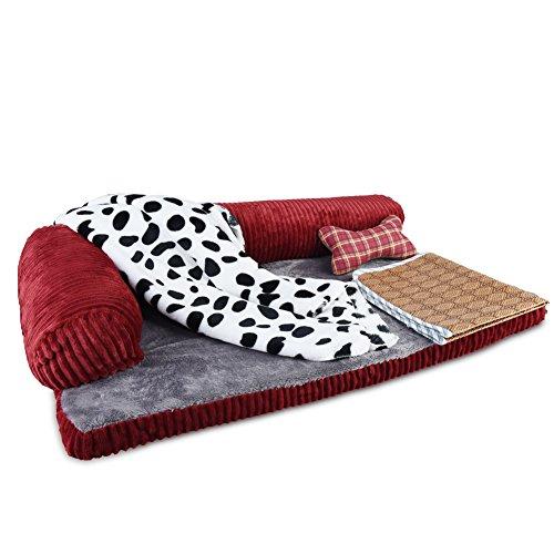 Petacc Dog Bed Detachable Dog Sofa Pet Crate Pad, Blanket, Pillow,Summer Sleeping Mat