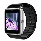Mgaolo GT08 Bluetooth Smart Watch Smartwatch Bracelet with Camera SIM Card Slot and Camera Pedometer Smart Health Watch for Android and IOS Apple iphone Smartphone (Silver)