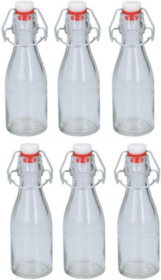 Botellas de cristal herméticas de 150 ml, 6 botellas de cristal con tapa abatible de 150 ml, para aceite, vinagre, condimentos, agua, jugo, bebidas con tapón hermético