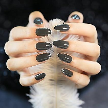 Juego de 24 uñas acrílicas con espejo negro y gris, brillantes, plateadas, con