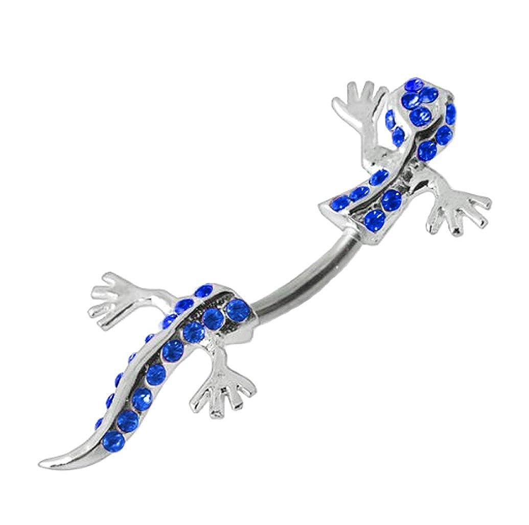 Blue gem Lizard Gecko split Look like reptile through Belly bright /& Shiney navel ring 14g