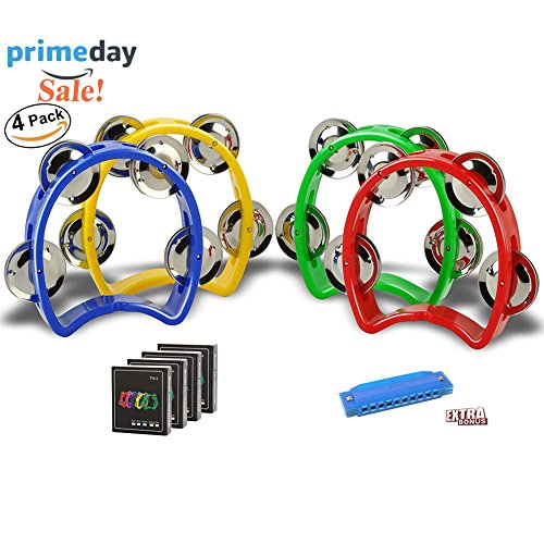 Mini Plastic Musical Percussion Tambourine Cutaway Tambourine Half Blossom with 4 Jingles Orff Teaching Toys (Mini Percussion)