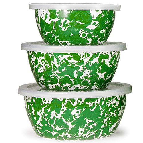 Enamelware - Green Swirl Pattern - Nesting Bowls