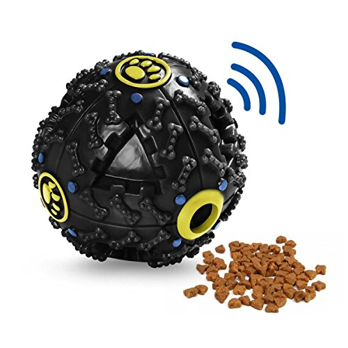 Tricky Treat Ball (Smart Doggie Iq Treat Ball Food Dispensing Dog Toy Squeaky Ball for Dogs Small/Middles Size Unchew Dog)