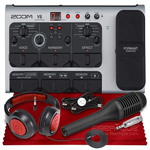 Zoom V6 Vocal Processor with Harmony, Effects, 40 Presets, Looper, and SGV-6 Shotgun Mic + SR360 Dynamic Stereo Headphones, Cables & Fibertique Cleaning Cloth