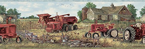 Chesapeake CTR63161B Oakley Red Countryside Wallpaper Border by - Stores Countryside