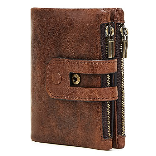 Men RFID Blocking Wallet, Wraifa Genuine Leather Short Purse Bifold Card Holder