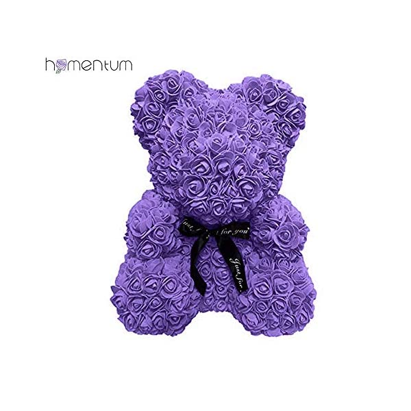 Homentum Rose Bear Teddy Forever Artificial Flowers are The Best Gifts for Valentine's Day, Anniversaries, Birthdays, Weddings (Large, Purple)