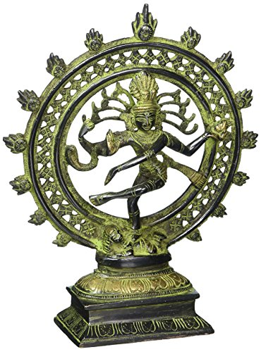 Cultural HubLord Natraj Dancing Shiva Statues Sculptures Brass Made Antique Handcrafted Figurine Religious Idol 8 Inch Green