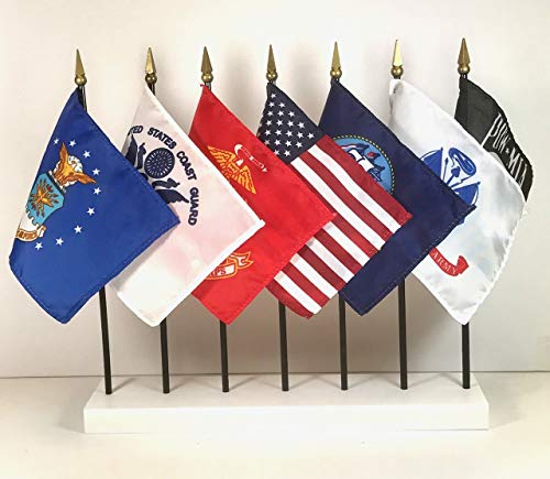 Miniature State Flags - MADE IN THE USA!! UNITED STATES MILITARY WORLD FLAG SET with Base--7 Rayon 4