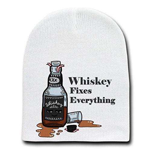 - Whiskey Fixes Everything Food Humor Cartoon - White Beanie Skull Cap Hat