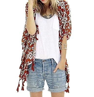 Bestyou Women's Beachwear Cover-ups Tunic Chiffon Printed Kimono Cardigan XS-M