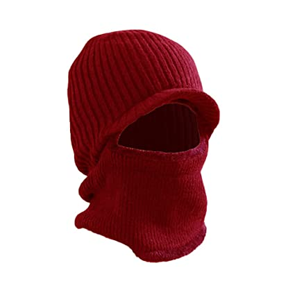 6b5e68762c8 Image Unavailable. Image not available for. Color  VORCOOL Winter Warm Mask  Hat Windproof Knitted Hat Visor Beanie Neck Warmer Hat for Men Women