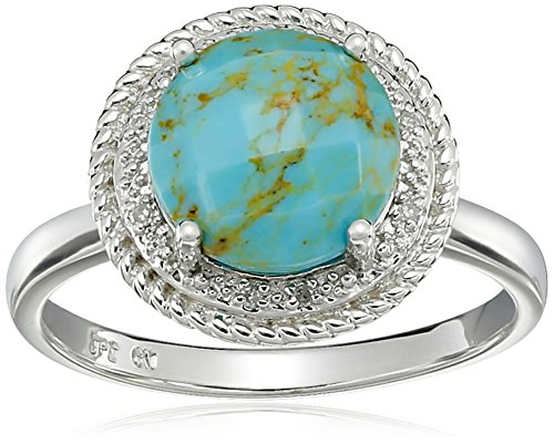 Sterling Silver Turquoise Accent (Sterling Silver Turquoise and Diamond Accent Rope Framed Ring, Size 7)
