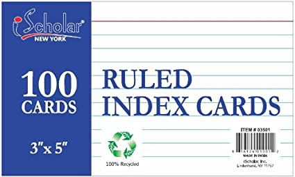 iScholar Index Cards, Ruled, Colored, 3 X 5-Inch, 100 Card Pack - 3516 03516