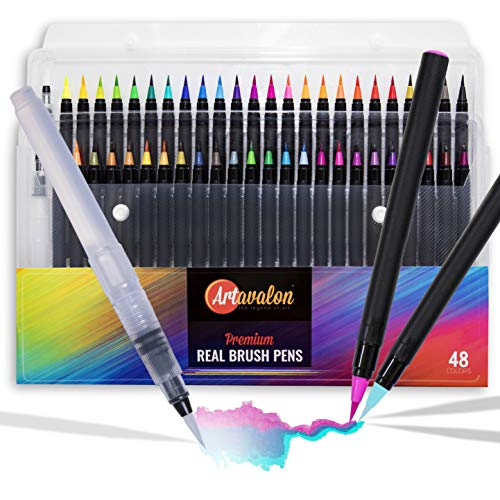 Watercolor Brush Pens - 48 Colors + 2 Refillable Pen - Flexible Tip + NonToxic • [Water Color Paint Markers Set for Artists/Adults/Kids, Real Art Coloring, Calligraphy Drawing, Paintbrush]