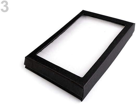 1pc Negro de la Joyería Caja de cartón Con Tapa Transparente ...