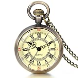 JewelryWe Retro Vintage Roman Numerals Dial Quartz Transparent Glass Lid Pocket Watch Long Necklace Pendant 31.7 Inch Chain (with Gift Bag)