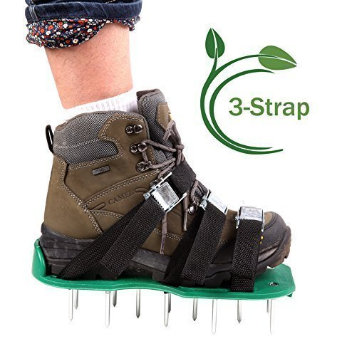 (Ohuhu Spiked Shoes with 3 Adjustable Straps Aluminium Alloy Buckles for Lawn Aeration)
