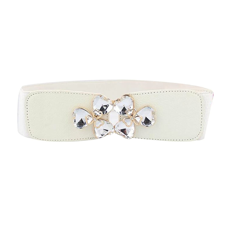 Sitong women's fashion rhinestone flower buckle elastic waistband