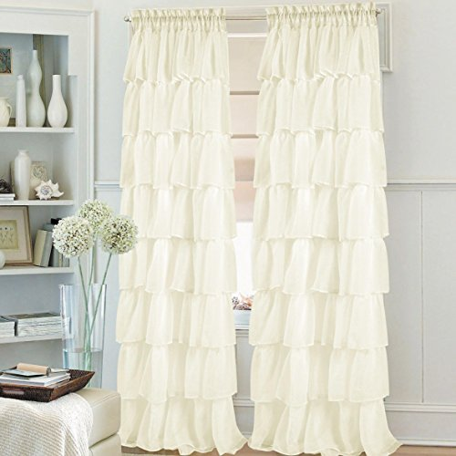 1pc ruffled gypsy crushed sheer window curtain panel drape fully stitched machine washable with many colors & sizes to choose from (55x84