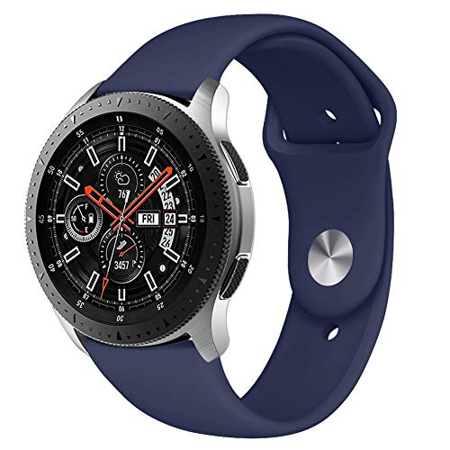 Kmasic Sport Band Compatible Samsung Galaxy Watch 46mm, Gear S3 Band, Soft Silicone Strap Replacement Wristband Compatible Samsung Galaxy Watch SM-R800NZSAXAR Smart Fitness Watch, Small, Ocean Blue
