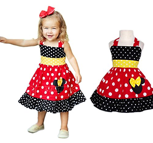 StylesILove Minnie Polka Dot Shoulder Straps Girl Costume Dress (12-18 Months) , Red (Minnie Outfit)