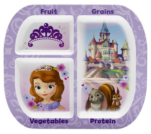 Zak! Designs Healthy by Design 4-Section Plate featuring Sofia The First, Break-resistant and BPA-free (Princess Divided Plate)