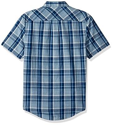 Original Penguin Men's Short Sleeve Indigo End Plaid Shirt