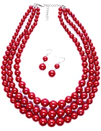 Women Three Layers Faux Pearl Necklace and Earring Set Handmade Pearl Suit