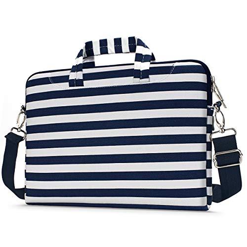 Pavilion Stripe - MOSISO Laptop Shoulder Bag Compatible 13-13.3 Inch MacBook Pro, MacBook Air, Notebook Computer with Back Trolley Belt, Protective Carrying Handbag Briefcase Sleeve Case Cover, Navy Blue Stripe