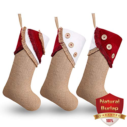 Ivenf Christmas Stockings, 3 Pack 18 Inch Large Original Burlap Handcraft Stockings with Tassel, for Family Holiday Xmas Party Decorations