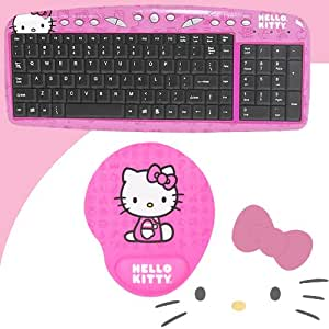 hello kitty usb keyboard with hot keys 90309k pink hello kitty mouse pad w. Black Bedroom Furniture Sets. Home Design Ideas