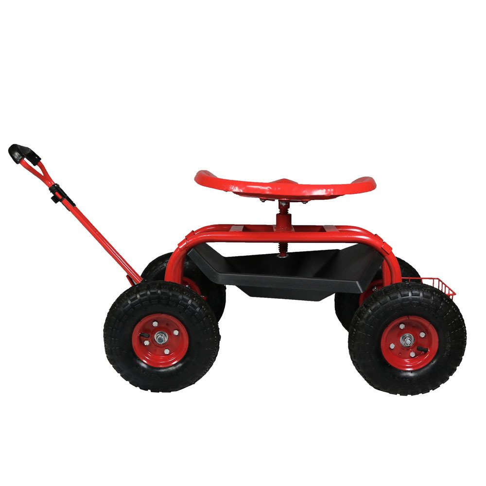 Red Sunnydaze Garden Cart Rolling Scooter with Extendable Steering Handle Swivel Seat /& Utility Basket