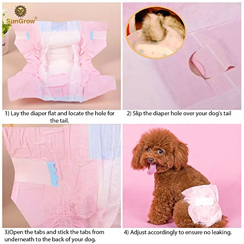 Image of Dono Pet Diapers (14 count) --- For Female Dogs & Cats - Leak-Proof, Super Absorbent Disposable Diapers - Convenient & Environmental Friendly - Safe & Comfortable Fit for Your Pets - Cute Pink color