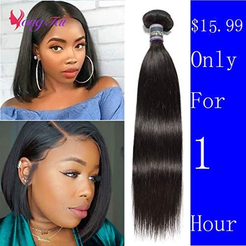 Malaysian 1 Bundle Straight Human Hair (10 inch) 9A Malaysian Virgin Mink Hair Bundles 100% Unprocessed 1 B Color Soft and Tangle Free Malaysian Straight Human Hair Extensions
