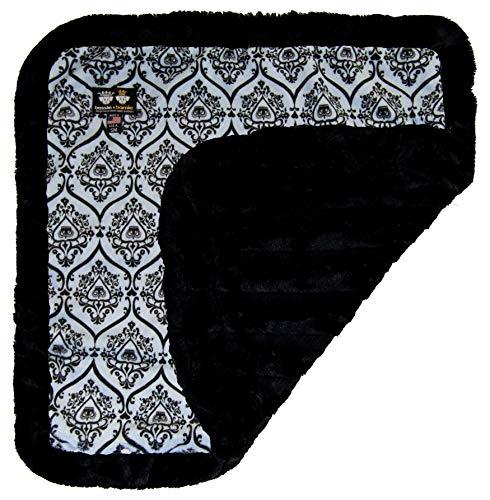 BESSIE AND BARNIE Versailles Blue/Black Puma Luxury Ultra Plush Faux Fur Pet, Dog, Cat, Puppy Super Soft Reversible Blanket (Multiple Sizes)