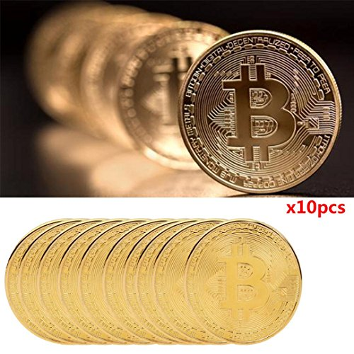 Promisen 10Pcs Gold Plated Bitcoin Coin Btc Coin Art Collection Physical Collectible Gift