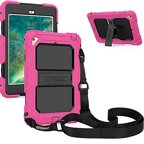 SEYMAC iPad Mini 4 Case, Three Layer Heavy Duty Drop Proof Full-Body Protective Rugged Hard Case with Kickstand & Removable Shoulder Strap Compatible with iPad Mini 4th Gen [a1538,a1550] (Pink/Black)