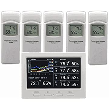 Image of Ambient Weather WS-3000-X5 Wireless Thermo-Hygrometer with Logging, Graphing, Alarming, Radio Controlled Clock with 5 Remote Sensors Home and Kitchen