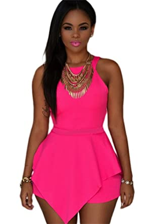 b7ffe39b0c17 Unbranded  KingField Women s Asymmetrical Peplum Bodysuit Cut-Out Back  Zipper Rompers Large Pink