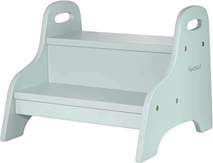 Kindsgut gradino in legno, rialzo per bambini sgabello per bagno o cameretta, aquamarina