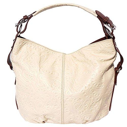 Borsa hobo a spalla in pelle stampato (Beige-Marrone)